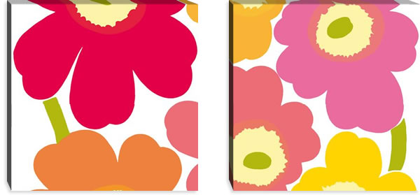 マリメッコ ファブリックパネル ウニッコ(Unikko)600×600×30mm×2枚【北欧雑貨/北欧生地】マルチの画像