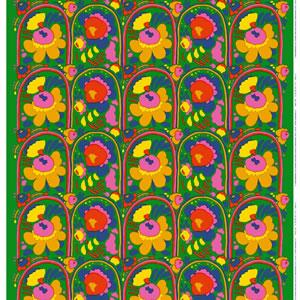 マリメッコ(marimekko)ピエニ カルセッリ(Pieni Karuselli)グリーンの生地(ファブリック)全体画像