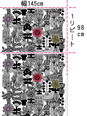 マリメッコ(marimekko)リントゥコト(Lintukoto)の生地(ファブリック)画像