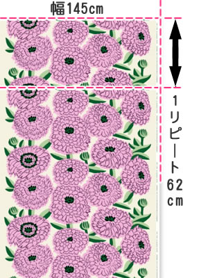 マリメッコ(marimekko)プリマヴェーラ(Primavera)ピンクの生地(ファブリック)説明画像