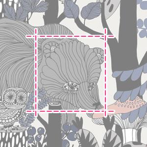 マリメッコ(marimekko)ヴェルイェクセトゥ(Veljekset)の生地(ファブリック)詳細サイズ画像