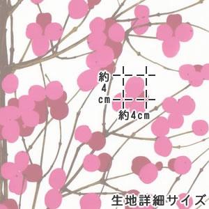 マリメッコ(marimekko)ルミマルヤ(Lumimarja)ピンクの生地(ファブリック)詳細サイズ画像