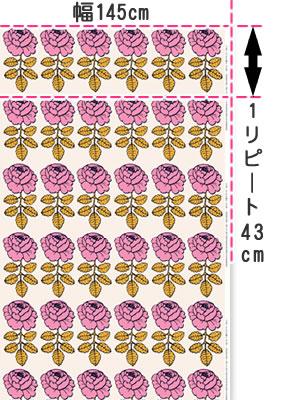 マリメッコ(marimekko)マーライスルース(MAALAISRUUSU)ピンクの生地(ファブリック)説明画像
