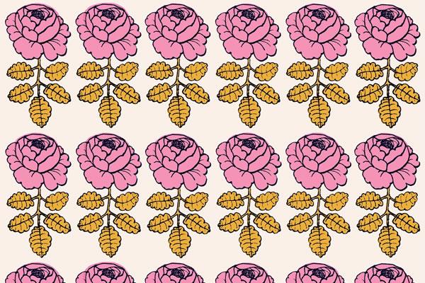 マリメッコ(marimekko)マーライスルース(MAALAISRUUSU)ピンクの生地(ファブリック)全体画像