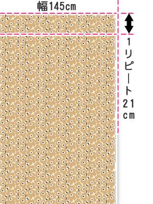 マリメッコ(marimekko)生地(ファブリック)ミニウニッコ(Mini-Unikko)ベージュグリーンの全体画像