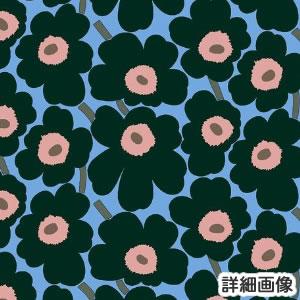 マリメッコ(marimekko)生地(ファブリック)ミニウニッコ(Mini-Unikko)ディープグリーンのズームアップ画像