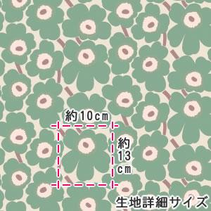 マリメッコ(marimekko)ミニウニッコ(Mini-Unikko)ベージュグリーンの詳細サイズ画像