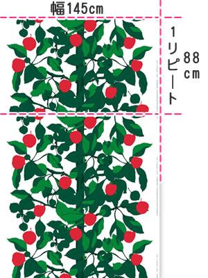 マリメッコ(marimekko)オンネン・オメナプー(Onnen-Omenapuu)の生地(ファブリック)画像