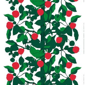 マリメッコ(marimekko)オンネン・オメナプー(Onnen-Omenapuu)の生地(ファブリック)全体画像