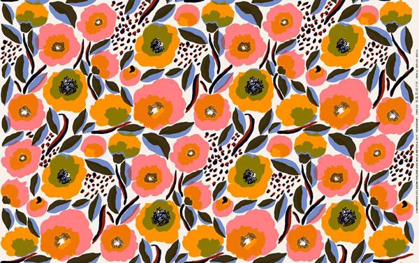 マリメッコ(marimekko)ロサリウム(Rosarium)の生地(ファブリック)の1リピート全体画像