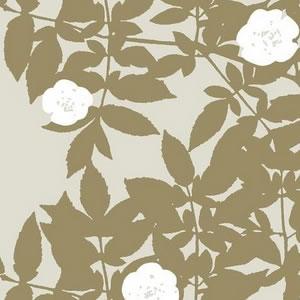 マリメッコ(marimekko)ルースプー(Ruusupuu)ゴールドサテンの生地(ファブリック)詳細画像