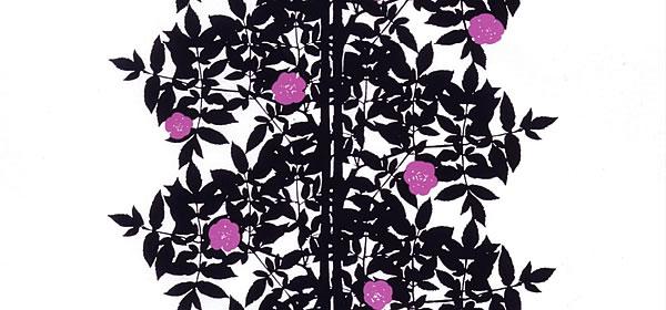 マリメッコ(marimekko)ルースプー(Ruusupuu)ブラックの生地(ファブリック)全体画像