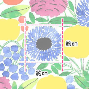 マリメッコ(marimekko)生地(ファブリック)シトルーナプー(Sitruunapuu)の部分サイズ画像