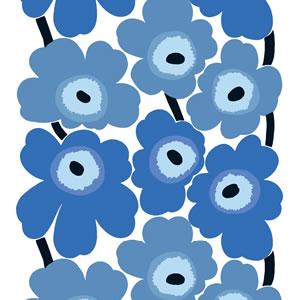 マリメッコ(marimekko)ウニッコ(Unikko)ブルーの生地(ファブリック)全体画像