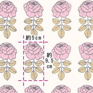 マリメッコ(marimekko)ヴィキルース(Vihkiruusu)ピンクの生地(ファブリック)詳細サイズ画像