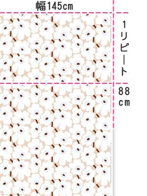 マリメッコ(marimekko)生地(ファブリック)ピエニウニッコ(Pieni Unikko)ヴィンテージカラーの全体画像
