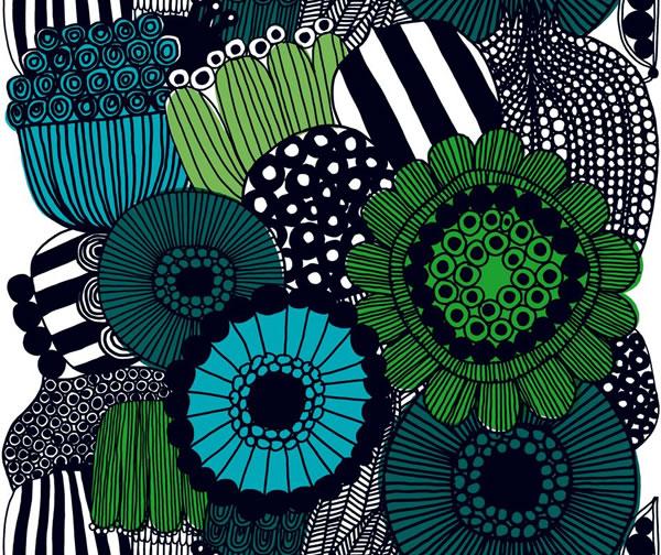 マリメッコ(marimekko)シィールトラプータルハ(Siirtolapuutarha)グリーンのファブリック(生地)全体画像