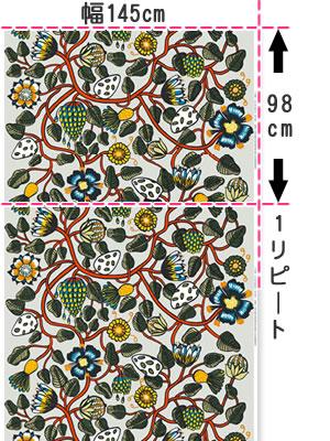 マリメッコ(marimekko)ティアラ(Tiara)マルチの生地(ファブリック)全体サイズ画像
