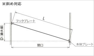 室内物干し 4m【おしゃれ/洗濯用品/デザイナーズ雑貨】の斜め対応可能寸法画像