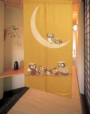 のれん 月フクロウ 85×150cm【間仕切り】黄金の使用画像