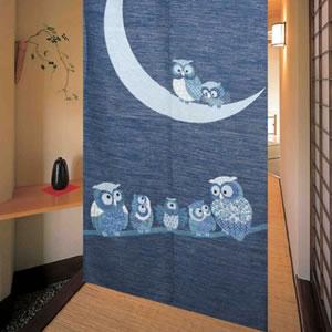 のれん 月フクロウ 85×150cm【間仕切り】白銀の詳細画像