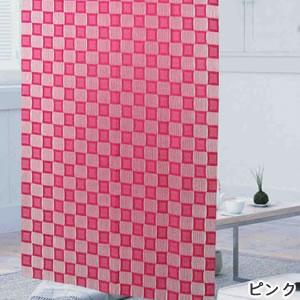 ファニーストリングカーテン チェス 95×176cm【パネルカーテン/北欧】ピンクの生地詳細画像