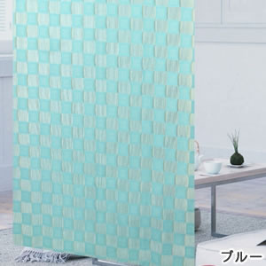 ファニーストリングカーテン チェス 95×176cm【パネルカーテン/北欧】ブルーの生地詳細画像