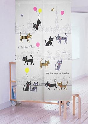 ミラーレース のれん ラブキャッツ インパリ 85×150cm【パネルカーテン/猫】の使用画像