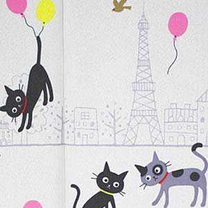 ミラーレース のれん ラブキャッツ インパリ 85×150cm【パネルカーテン/猫】の詳細画像