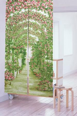 のれん ローズガーデン 85×170cm【パネルカーテン】グリーンの使用画像