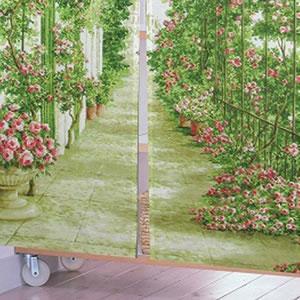のれん ローズガーデン 85×170cm【パネルカーテン】グリーンの詳細画像