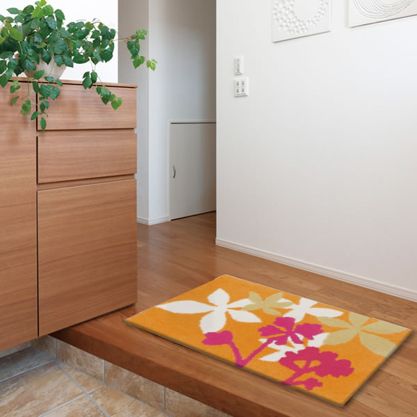 玄関マット ミモ【おしゃれ/北欧インテリア】オレンジの使用画像