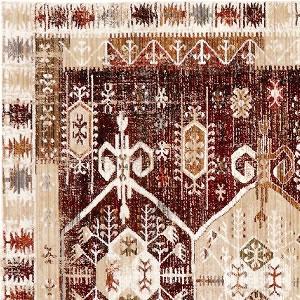 ウィルトン織り ラグマット ファビオ【ヴィンテージ/ペルシャ絨毯/メダリオン】レッドの詳細画像
