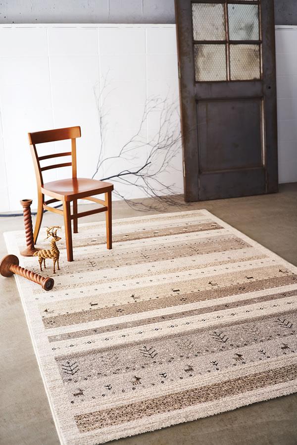 ウィルトン織り ラグマット ブリンク【ギャベ/ヴィンテージ】ベージュの使用画像