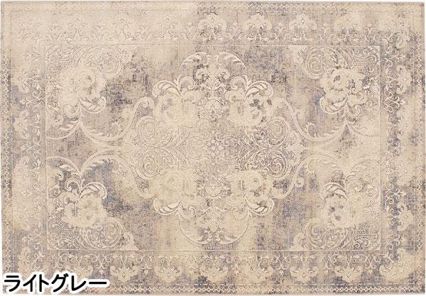 ウィルトン織り ラグマット デヴァン【ヴィンテージ/ペルシャ】ライトグレーの全体画像