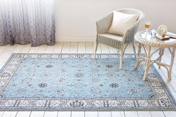 ウィルトン織り ラグマット ラグナ【ペルシャ絨毯】ブルーの使用画像