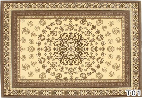 ウィルトン織り ラグマット バーバーウィルトン【ペルシャ絨毯】T01の全体画像