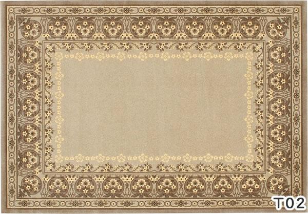 ウィルトン織り ラグマット バーバーウィルトン【ペルシャ絨毯】T02の全体画像
