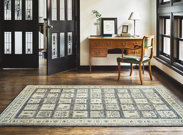 ウィルトン織り ラグマット マゼラン【ギャベ絨毯】グレーの使用画像