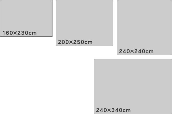 ウィルトン織り ラグマット ヴィセンテ【ペルシャ絨毯/メダリオン】のサイズバリエーション画像
