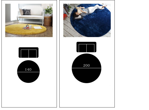 洗える ラグマット 円形 TS300【おしゃれ/春夏秋冬】のサイズ展開画像