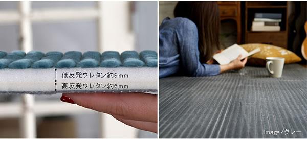 低反発高反発 レトロモダン ラグマット TS700【洗える/おしゃれ】のウレタン断面画像