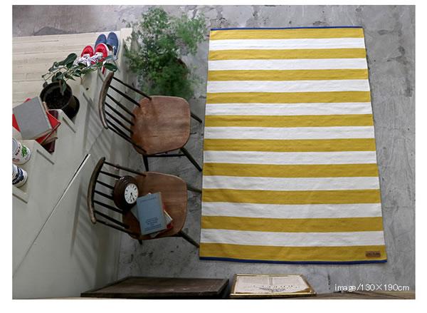 インドコットン手織り ラグマット ストライプ TSR300【おしゃれ】イエローの使用画像