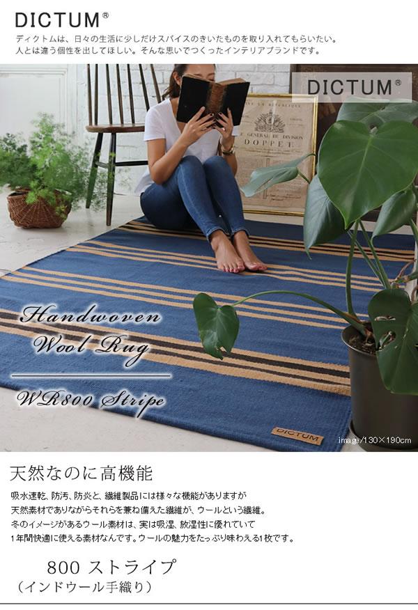 インドウール手織り ラグマット ストライプ TSR800【おしゃれ】ライトデニムの使用画像