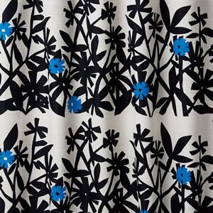 遮光カーテン クチナシ(KUCHINASHI)1枚入【北欧/おしゃれ】ブラックの全体画像