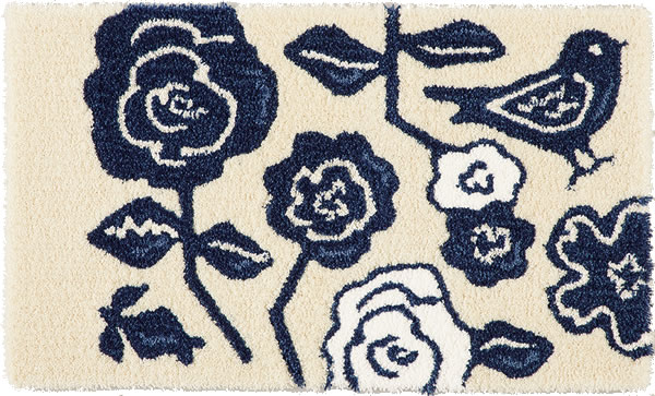 玄関マット クコ(CUCO)【北欧/おしゃれ】ブルーの全体画像