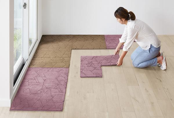 ユニットカーペット 各サイズ/各色【タイルカーペット/おしゃれ】ベージュとピンクの使用画像