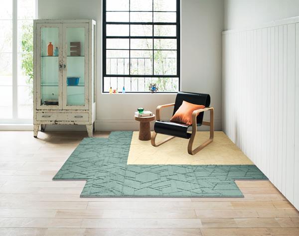 ユニットカーペット 各サイズ/各色【タイルカーペット/おしゃれ】アイボリーとグリーンの組み合わせ使用画像