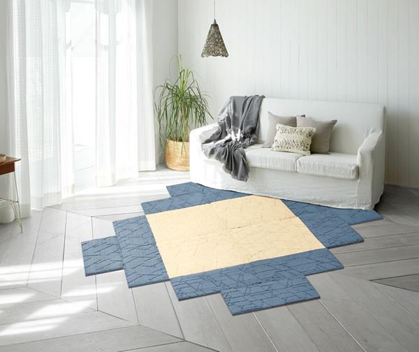 ユニットカーペット 各サイズ/各色【タイルカーペット/おしゃれ】アイボリーとブルーの組み合わせ使用画像