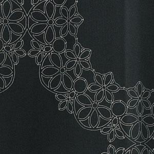スミノエの北欧風遮光カーテン フラワーリング ブラックのファブリック詳細画像